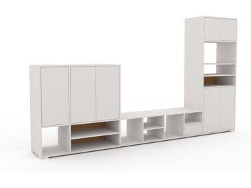 Wohnwand Weiß - Individuelle Designer-Regalwand: Schubladen in Weiß & Türen in Weiß - Hochwertige Materialien - 344 x 196 x 47 cm, Konfigurator