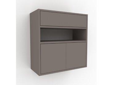 Hängeschrank Grau - Wandschrank: Schubladen in Grau & Türen in Grau - 77 x 80 x 35 cm, konfigurierbar