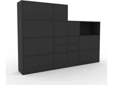 Schrankwand Graphitgrau - Moderne Wohnwand: Schubladen in Graphitgrau & Türen in Graphitgrau - Hochwertige Materialien - 229 x 157 x 35 cm, Konfigurator