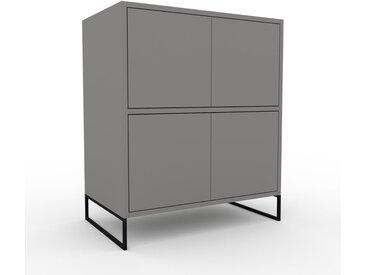 Kommode Grau - Design-Lowboard: Türen in Grau - Hochwertige Materialien - 77 x 91 x 47 cm, Selbst zusammenstellen