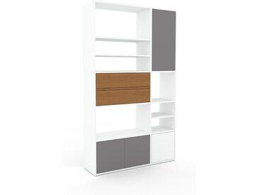 Schrankwand Grau - Moderne Wohnwand: Schubladen in Eiche & Türen in Grau - Hochwertige Materialien - 116 x 195 x 35 cm, Konfigurator