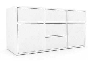 Lowboard Weiß - TV-Board: Schubladen in Weiß & Türen in Weiß - Hochwertige Materialien - 118 x 61 x 47 cm, Komplett anpassbar
