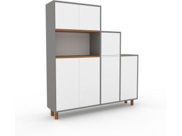 Aktenschrank Grau - Flexibler Büroschrank: Türen in Weiß - Hochwertige Materialien - 154 x 168 x 35 cm, Modular