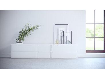 Lowboard Weiß - Designer-TV-Board: Schubladen in Weiß - Hochwertige Materialien - 190 x 41 x 35 cm, Komplett anpassbar