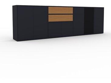 Sideboard Anthrazit - Sideboard: Schubladen in Eiche & Türen in Anthrazit - Hochwertige Materialien - 265 x 80 x 35 cm, konfigurierbar