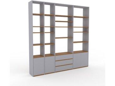 Wohnwand Lichtgrau - Individuelle Designer-Regalwand: Schubladen in Lichtgrau & Türen in Lichtgrau - Hochwertige Materialien - 229 x 233 x 35 cm, Konfigurator