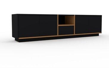 Lowboard Eiche - TV-Board: Schubladen in Schwarz & Türen in Schwarz - Hochwertige Materialien - 190 x 47 x 35 cm, Komplett anpassbar