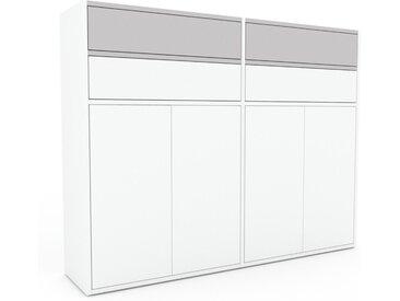 Aktenschrank Weiß - Büroschrank: Schubladen in Hellgrau & Türen in Weiß - Hochwertige Materialien - 152 x 118 x 35 cm, Modular