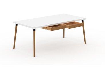 Schreibtisch Massivholz Weiß - Moderner Massivholz-Schreibtisch: mit 2 Schublade/n - Hochwertige Materialien - 180 x 75 x 90 cm, konfigurierbar