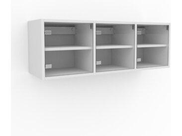 Hängeschrank Kristallglas klar - Moderner Wandschrank: Türen in Kristallglas klar - 118 x 41 x 35 cm, konfigurierbar