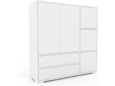 Aktenschrank Weiß - Büroschrank: Schubladen in Weiß & Türen in Weiß - Hochwertige Materialien - 116 x 120 x 35 cm, Modular