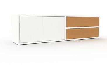 TV-Schrank Weiß - Fernsehschrank: Schubladen in Eiche & Türen in Weiß - 152 x 41 x 35 cm, konfigurierbar
