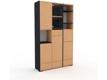 Vitrine Buche - Moderne Glasvitrine: Schubladen in Buche & Türen in Buche - Hochwertige Materialien - 118 x 196 x 35 cm, konfigurierbar
