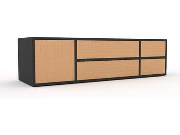 TV-Schrank Buche - Fernsehschrank: Schubladen in Buche & Türen in Buche - 154 x 41 x 47 cm, konfigurierbar