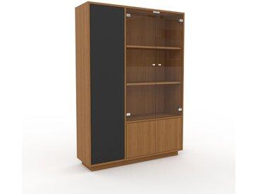 Vitrine Eiche - Moderne Glasvitrine: Türen in Eiche - Hochwertige Materialien - 116 x 162 x 35 cm, Selbst zusammenstellen