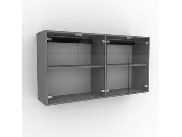 Hängeschrank Kristallglas klar - Moderner Wandschrank: Türen in Kristallglas klar - 152 x 80 x 35 cm, konfigurierbar