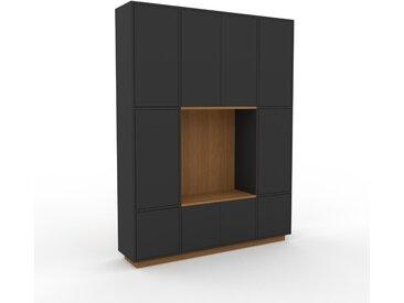 Wohnwand Graphitgrau - Individuelle Designer-Regalwand: Türen in Graphitgrau - Hochwertige Materialien - 154 x 200 x 35 cm, Konfigurator