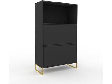Highboard Graphitgrau, Goldfüße - Elegantes Highboard: Schubladen in Graphitgrau - Hochwertige Materialien - 77 x 130 x 35 cm, Selbst designen