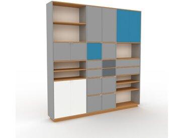 Wohnwand Grau - Individuelle Designer-Regalwand: Schubladen in Grau & Türen in Grau - Hochwertige Materialien - 229 x 239 x 35 cm, Konfigurator