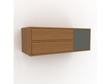 Hängeschrank Eiche - Wandschrank: Schubladen in Eiche & Türen in Nebelgrün - 116 x 41 x 47 cm, konfigurierbar