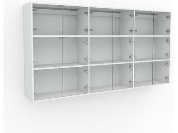 Hängeschrank Kristallglas klar - Moderner Wandschrank: Türen in Kristallglas klar - 226 x 118 x 35 cm, konfigurierbar