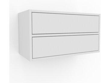 Hängeschrank Weiß - Moderner Wandschrank: Schubladen in Weiß - 77 x 41 x 35 cm, konfigurierbar