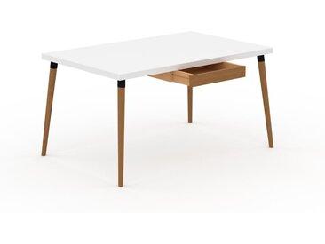 Schreibtisch Massivholz Weiß - Moderner Massivholz-Schreibtisch: mit 1 Schublade/n - Hochwertige Materialien - 140 x 75 x 90 cm, konfigurierbar