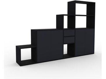 Regalsystem Schwarz - Regalsystem: Schubladen in Anthrazit & Türen in Anthrazit - Hochwertige Materialien - 229 x 157 x 35 cm, konfigurierbar