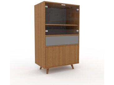 Vitrine Eiche - Moderne Glasvitrine: Schubladen in Grau & Türen in Eiche - Hochwertige Materialien - 77 x 130 x 47 cm, konfigurierbar