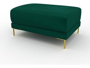 Polsterhocker Samt Waldgrün, mit Gold - Eleganter Polsterhocker: Hochwertige Qualität, einzigartiges Design - 80 x 42 x 60 cm, Individuell konfigurierbar