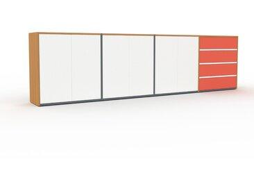 Regalsystem Eiche - Regalsystem: Schubladen in Rot & Türen in Weiß - Hochwertige Materialien - 301 x 80 x 35 cm, konfigurierbar