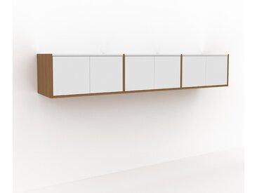 Hängeschrank Weiß - Moderner Wandschrank: Türen in Weiß - 226 x 41 x 47 cm, konfigurierbar