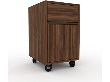 Rollcontainer Nussbaum - Rollcontainer: Schubladen in Nussbaum & Türen in Nussbaum - 41 x 68 x 47 cm, konfigurierbar