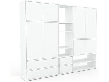 Wohnwand Weiß - Individuelle Designer-Regalwand: Schubladen in Weiß & Türen in Weiß - Hochwertige Materialien - 190 x 157 x 35 cm, Konfigurator