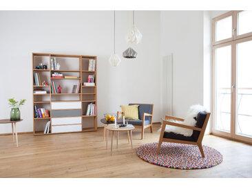 Bücherregal Buche - Modernes Regal für Bücher: Schubladen in Weiß - 154 x 195 x 35 cm, Individuell konfigurierbar