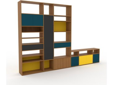 Wohnwand Eiche - Individuelle Designer-Regalwand: Schubladen in Graphitgrau & Türen in Blaugrün - Hochwertige Materialien - 342 x 233 x 35 cm, Konfigurator
