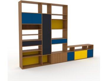 Wohnwand Eiche - Individuelle Designer-Regalwand: Schubladen in Anthrazit & Türen in Blau - Hochwertige Materialien - 342 x 233 x 35 cm, Konfigurator