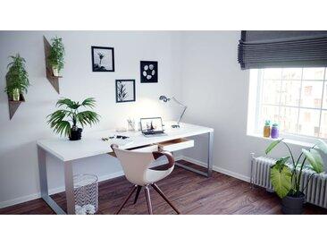 Schreibtisch Massivholz Weiß - Moderner Massivholz-Schreibtisch: mit 1 Schublade/n - Hochwertige Materialien - 180 x 75 x 90 cm, konfigurierbar