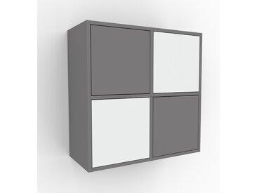 Hängeschrank Grau - Moderner Wandschrank: Türen in Weiß - 79 x 80 x 35 cm, konfigurierbar