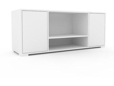 Lowboard Weiß - Designer-TV-Board: Türen in Weiß - Hochwertige Materialien - 154 x 62 x 47 cm, Komplett anpassbar