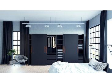 Kleiderschrank Anthrazit - Individueller Designer-Kleiderschrank - 404 x 233 x 65 cm, Selbst Designen, Böden/hohe Schublade/Schublade Glasfront/drawer_small_fronts/Kleiderlift