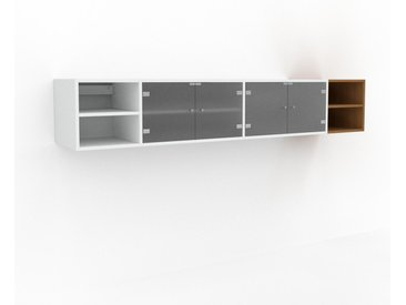 Hängeschrank Kristallglas satiniert - Moderner Wandschrank: Türen in Kristallglas satiniert - 229 x 41 x 47 cm, konfigurierbar