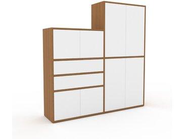 Regalsystem Eiche - Regalsystem: Schubladen in Weiß & Türen in Weiß - Hochwertige Materialien - 152 x 157 x 35 cm, konfigurierbar