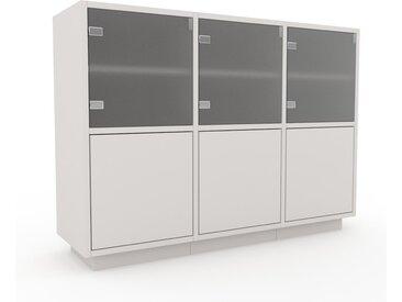 Vitrine Weiß - Moderne Glasvitrine: Türen in Weiß - Hochwertige Materialien - 118 x 85 x 35 cm, Selbst zusammenstellen
