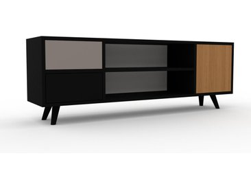 TV-Schrank Weiß - Fernsehschrank: Schubladen in Schwarz & Türen in Eiche - 154 x 53 x 35 cm, konfigurierbar