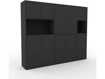 Schrankwand Graphitgrau - Moderne Wohnwand: Türen in Graphitgrau - Hochwertige Materialien - 190 x 157 x 35 cm, Konfigurator