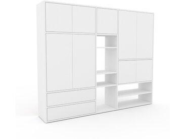 Schrankwand Weiß - Moderne Wohnwand: Schubladen in Weiß & Türen in Weiß - Hochwertige Materialien - 190 x 157 x 35 cm, Konfigurator