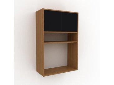 Hängeschrank Schwarz - Moderner Wandschrank: Türen in Schwarz - 77 x 118 x 35 cm, konfigurierbar