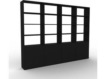 Wohnwand Schwarz - Individuelle Designer-Regalwand: Türen in Schwarz - Hochwertige Materialien - 301 x 233 x 35 cm, Konfigurator