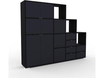 Schrankwand Schwarz - Moderne Wohnwand: Schubladen in Anthrazit & Türen in Anthrazit - Hochwertige Materialien - 193 x 158 x 35 cm, Konfigurator